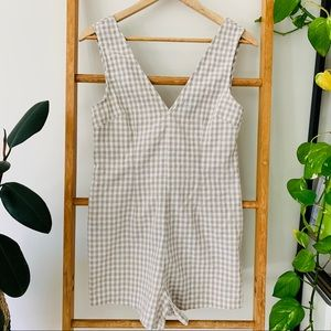 Alice in the Eve Grey White Check Romper Playsuit